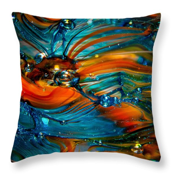Glass Macro Abstract Rto Throw Pillow by David Patterson