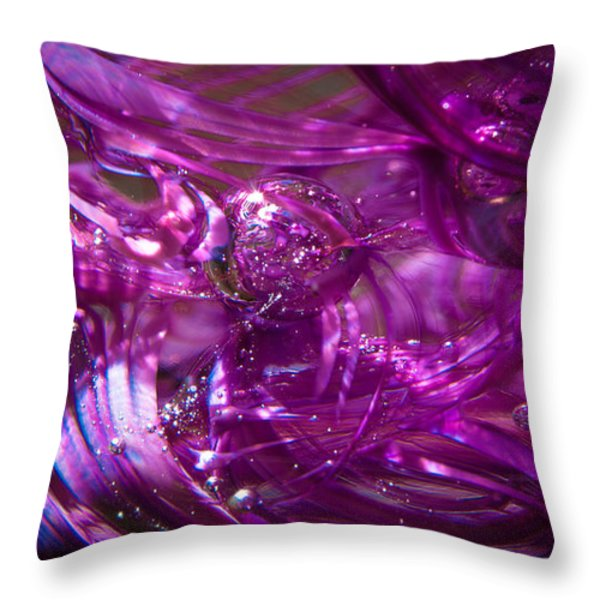 Glass Macro - Deep Pinks IIi Throw Pillow by David Patterson