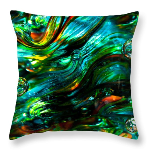 Glass Macro - Greens And Blues Throw Pillow by David Patterson