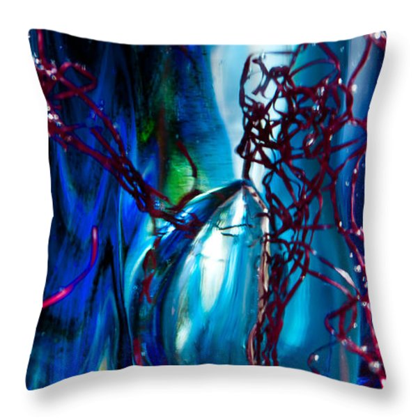 Glass Macro - The Blue Bubble Throw Pillow by David Patterson