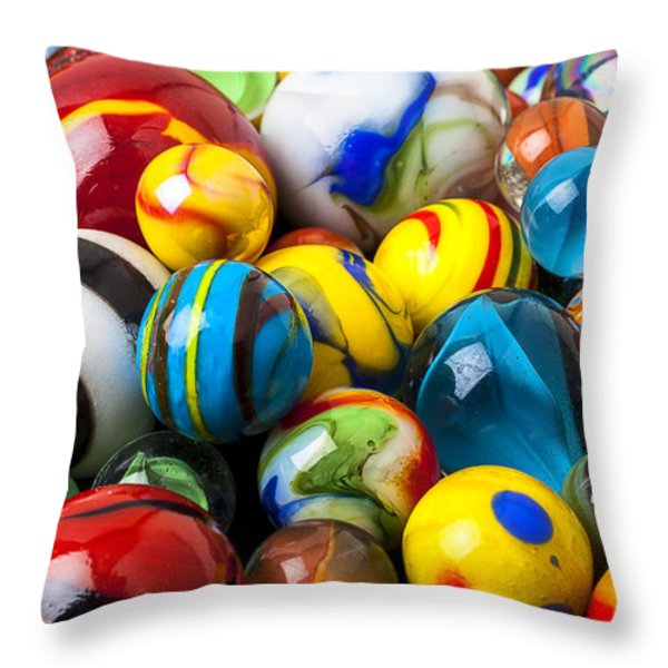 Glass marbles Throw Pillow by Garry Gay