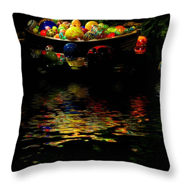 Glass Sculpture Balls in Rowboat Throw Pillow by Amy Cicconi