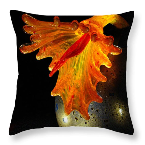 Glass Sculpture Orange Flowerbud Throw Pillow by Amy Cicconi