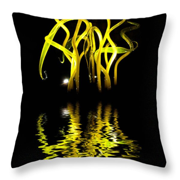 Glass Sculpture Yellow Flumes Throw Pillow by Amy Cicconi