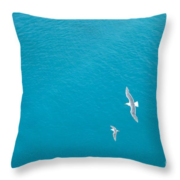 Gliding Seagulls Throw Pillow by Jacqueline Athmann