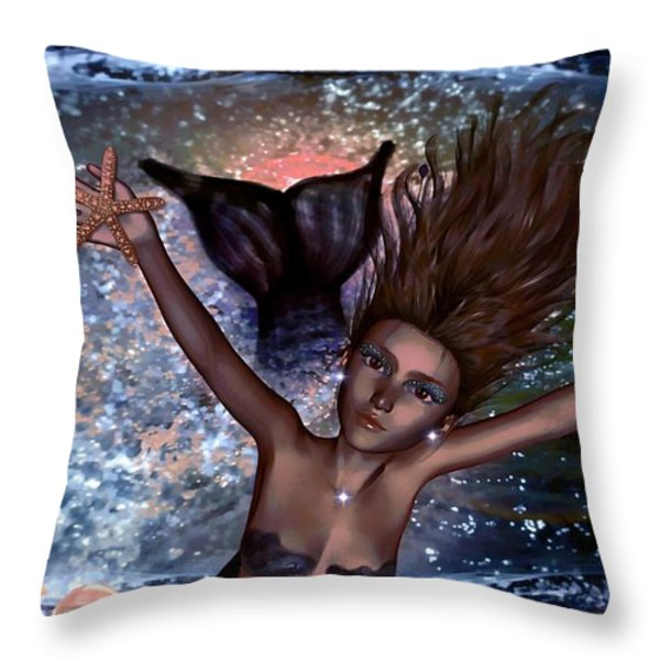 Glimmer Coral Loner Throw Pillow by Tisha McGee