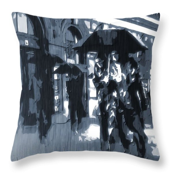 Gloomy Day In The City Throw Pillow by Dan Sproul