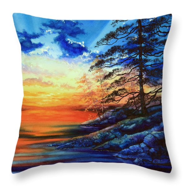 Glorious Lake Sunset Throw Pillow by Hanne Lore Koehler