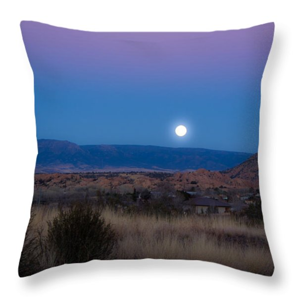 Glowing Full Moon Throw Pillow by Phyllis Bradd