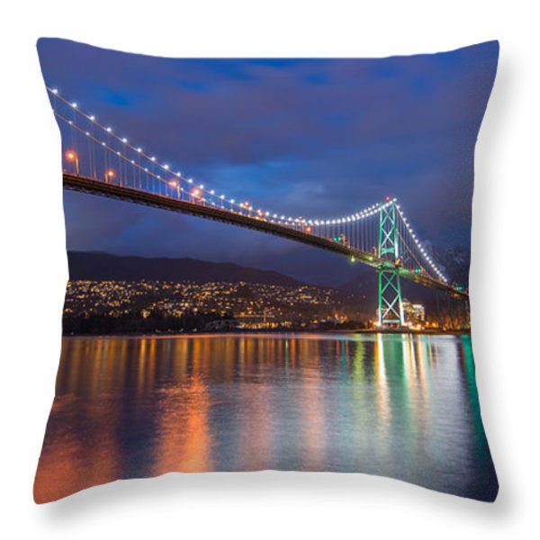 Glowing Grouse Mountain Throw Pillow by James Wheeler