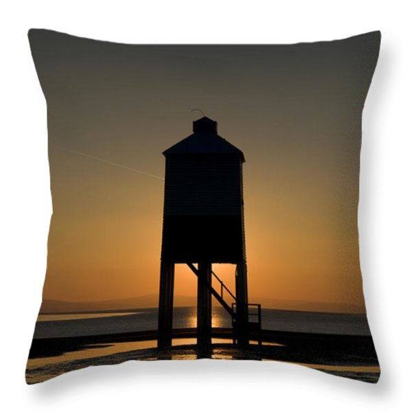 Glowing Lighthouse Throw Pillow by Anne Gilbert