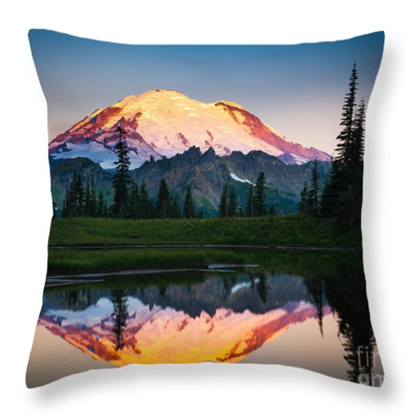 Glowing Peak Throw Pillow by Inge Johnsson