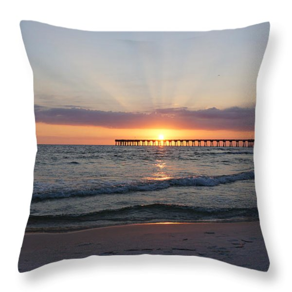 Glowing Sunset Throw Pillow by Sandy Keeton
