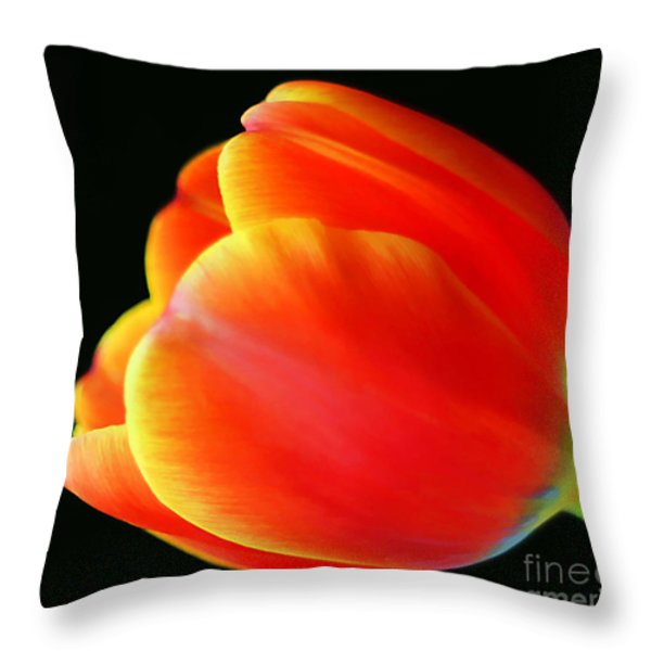 Glowing Tulip Throw Pillow by Darren Fisher