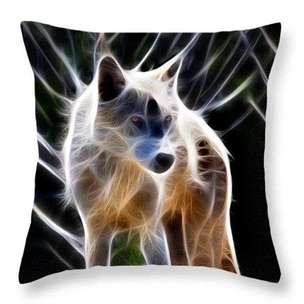 Glowing Wolf Throw Pillow by Shane Bechler