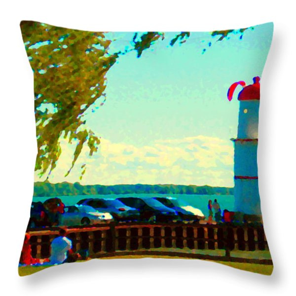 Go Fly A Kite Off A Short Pier Lachine Lighthouse Summer Scene Carole Spandau Montreal Art  Throw Pillow by Carole Spandau