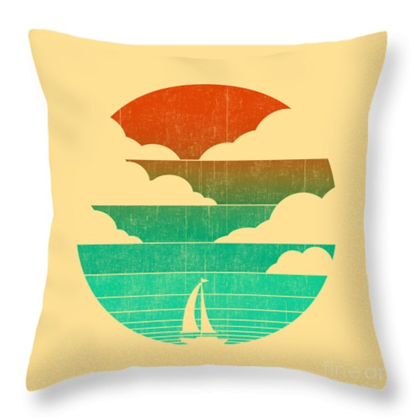 Go West In Your Sailing Boat Throw Pillow by Budi Satria Kwan