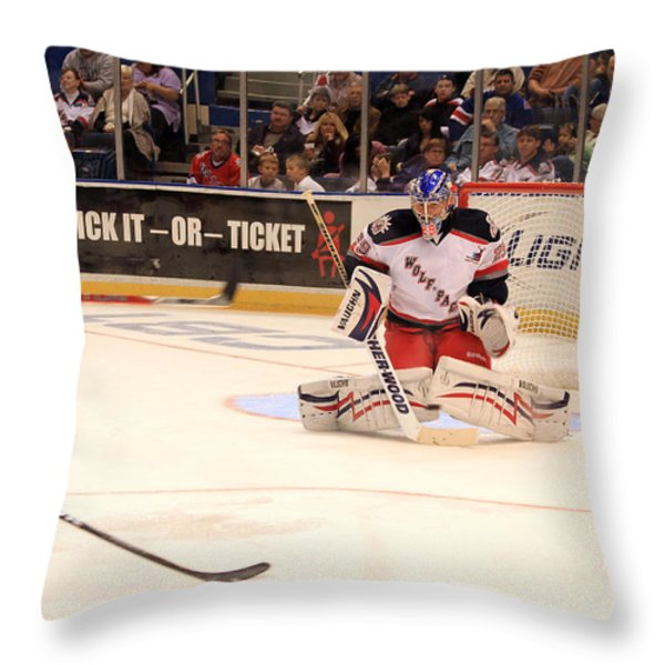 Goalie Protects Throw Pillow by Karol  Livote