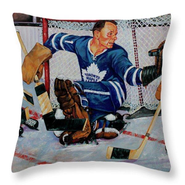 Goaltender Throw Pillow by Derrick Higgins