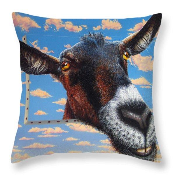 Goat a la Magritte Throw Pillow by Jurek Zamoyski