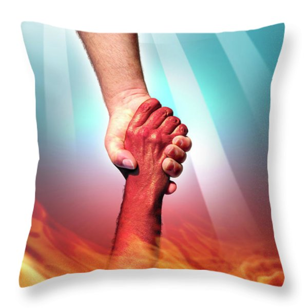 God And Devil Throw Pillow by Carlos Caetano