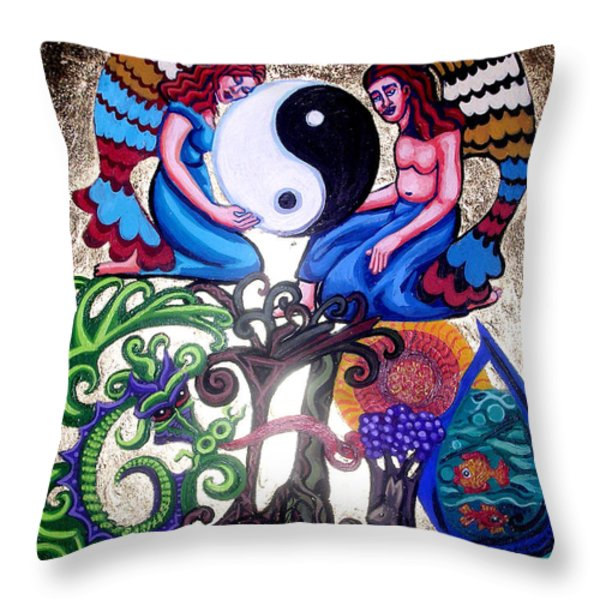God And Gaia Throw Pillow by Genevieve Esson