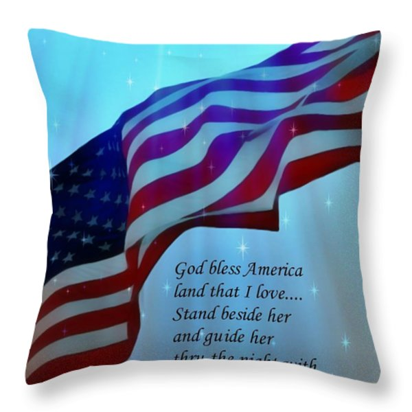 God Bless America Throw Pillow by Barbara Chichester
