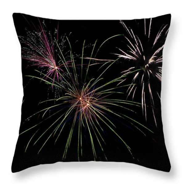 God Bless America Fireworks Throw Pillow by Christina Rollo