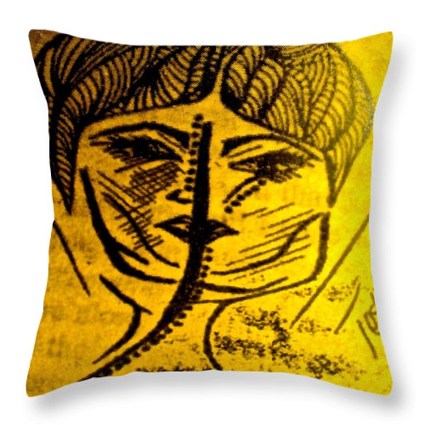 Goddess Archetype Of Connections Throw Pillow by Lady Picasso Tetka Rhu