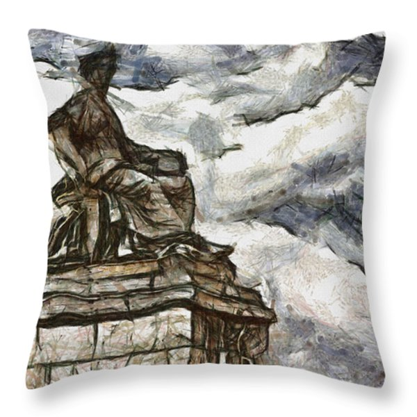 Goddess Throw Pillow by Ayse Deniz