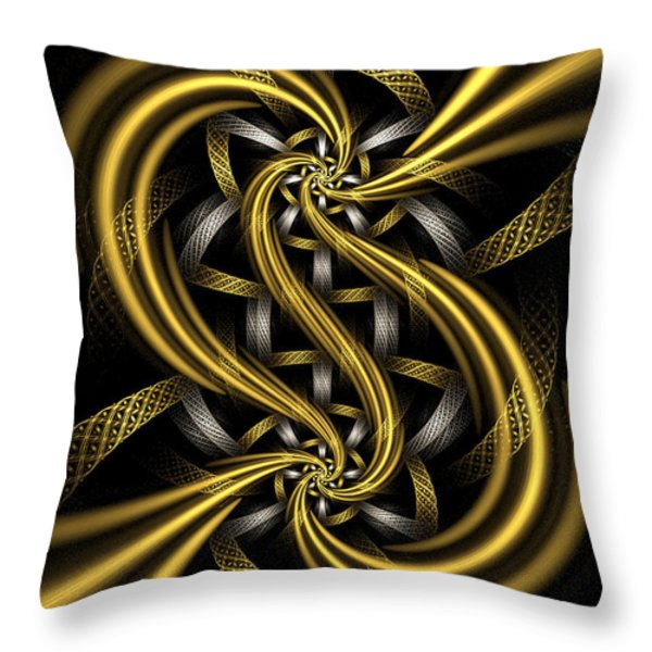 Gold and Silver Throw Pillow by Sandy Keeton