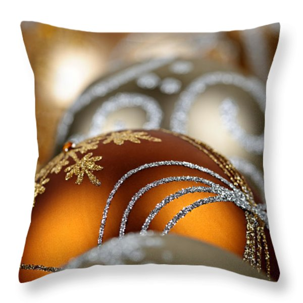 Gold Christmas ornaments Throw Pillow by Elena Elisseeva