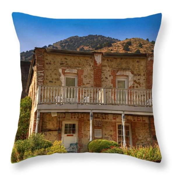 Gold Hill Hotel And Saloon Throw Pillow by Donna Kennedy