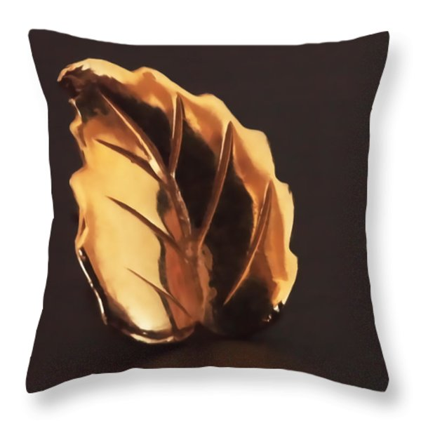 Gold Leaf Throw Pillow by Rona Black