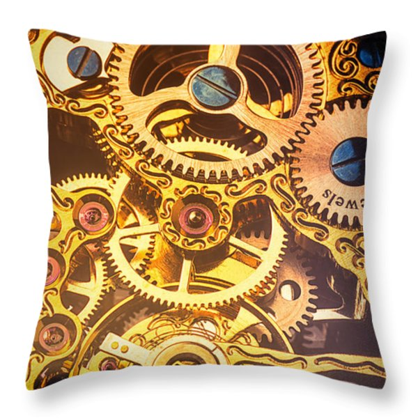 Gold pocket watch gears Throw Pillow by Garry Gay