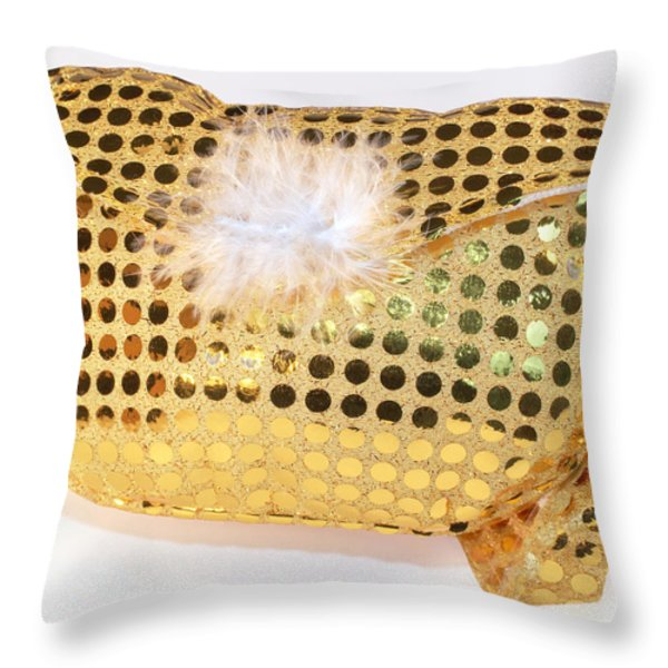 Gold Sequin Purse Throw Pillow by Jo Ann Snover