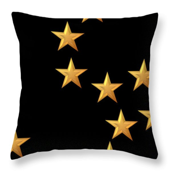 Gold Stars Abstract Triptych Part 2 Throw Pillow by Rose Santuci-Sofranko
