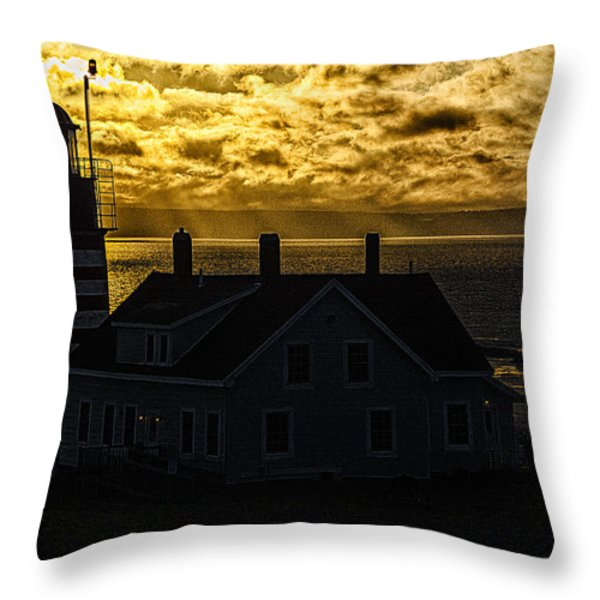 Golden Backlit West Quoddy Head Lighthouse Throw Pillow by Marty Saccone