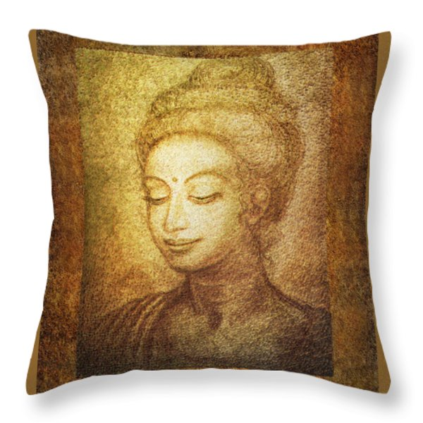 Golden Buddha Throw Pillow by Ananda Vdovic