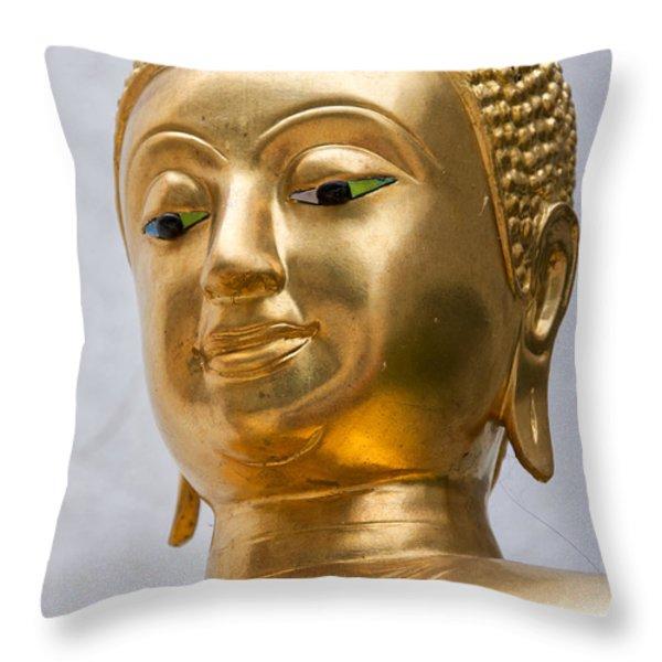 Golden Buddha Statue Throw Pillow by Antony McAulay