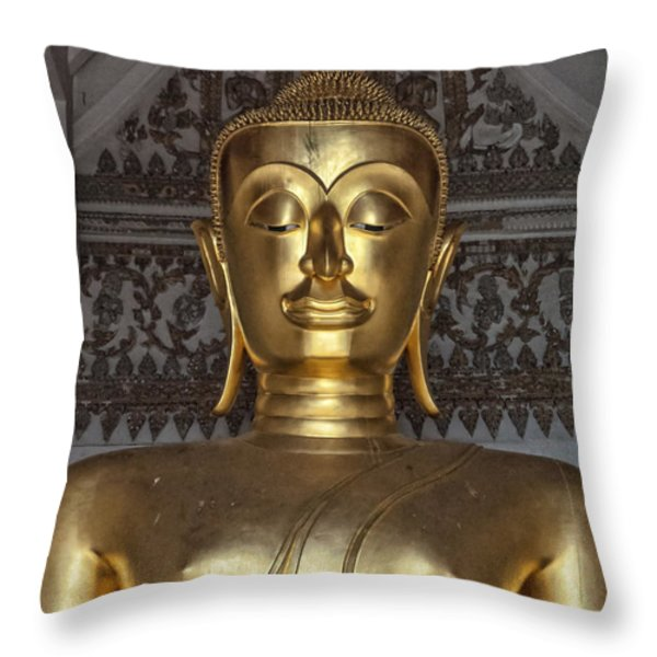 Golden Buddha Temple Statue Throw Pillow by Antony McAulay