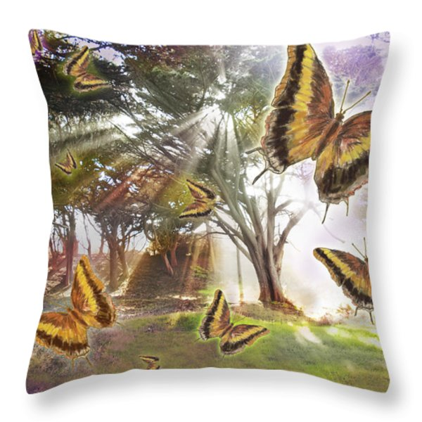 Golden Butterfly Rays Throw Pillow by Alixandra Mullins