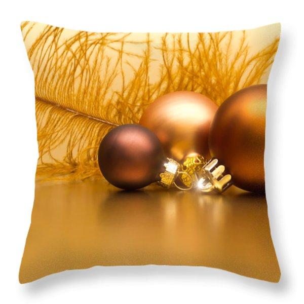 Golden Christmas Throw Pillow by Wim Lanclus