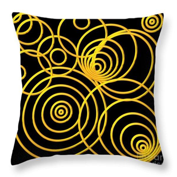 Golden Circles Optical Illusion Throw Pillow by Rose Santuci-Sofranko