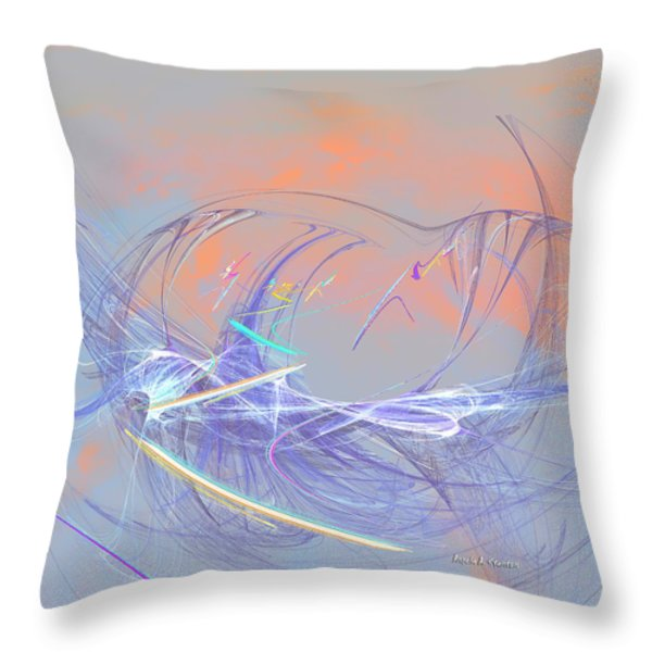Golden Day Skiers Throw Pillow by Angela A Stanton