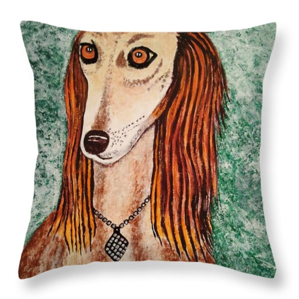 Golden Dog Throw Pillow by Jasna Gopic
