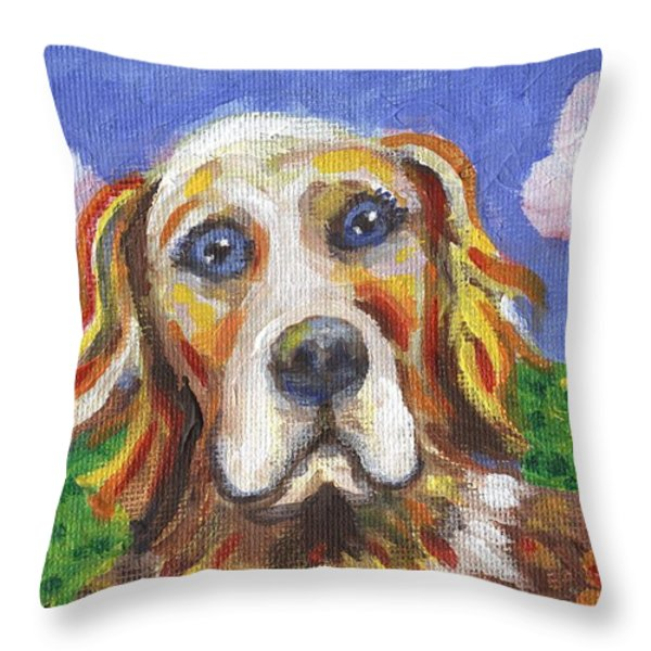 Golden Dog Throw Pillow by Linda Mears