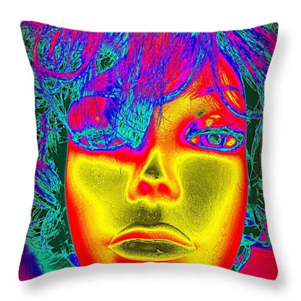 Golden Faced Girl Throw Pillow by Ed Weidman