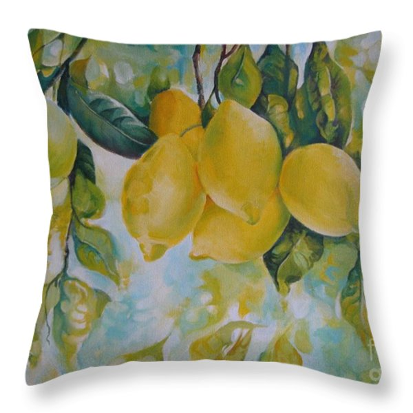 Golden Fruit Throw Pillow by Elena Oleniuc