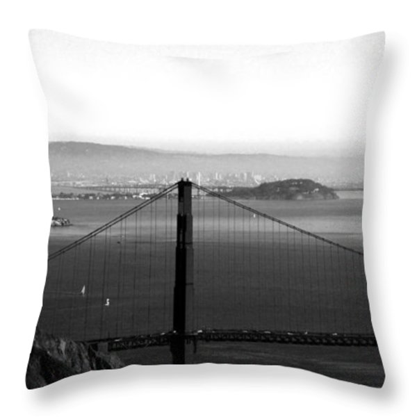 Golden Gate and Bay Bridges Throw Pillow by Linda Woods
